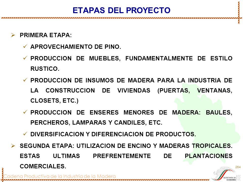 ETAPAS DEL PROYECTO PRIMERA ETAPA: APROVECHAMIENTO DE PINO.