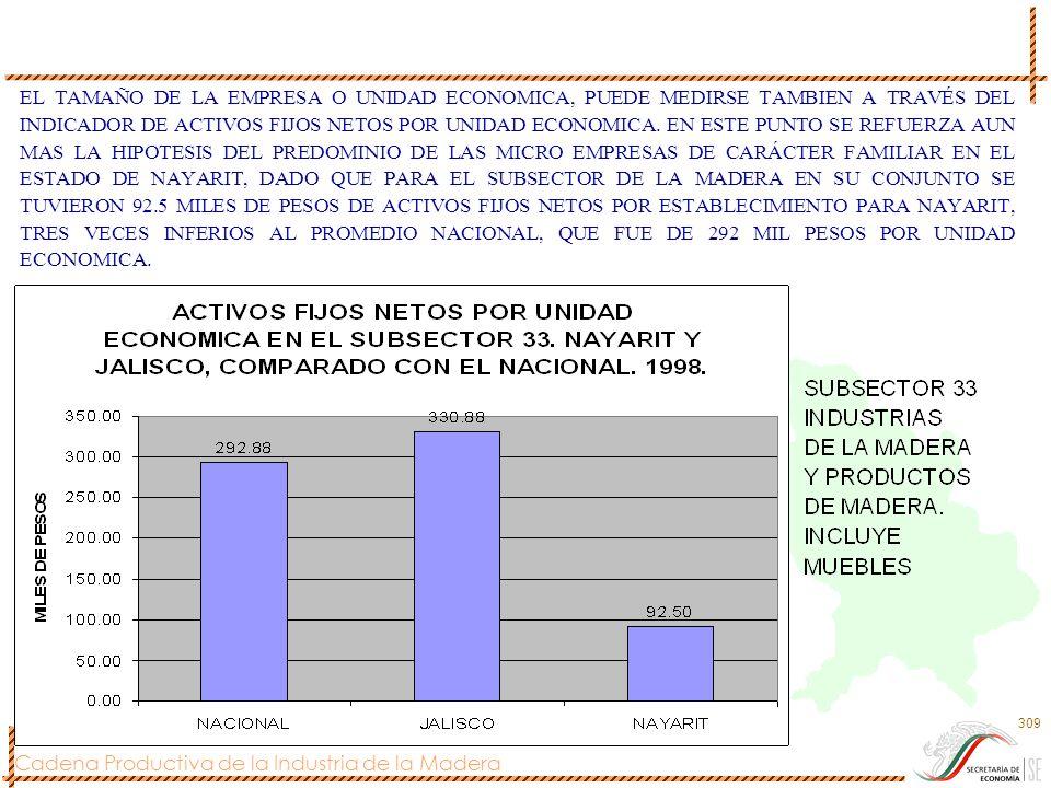 EL TAMAÑO DE LA EMPRESA O UNIDAD ECONOMICA, PUEDE MEDIRSE TAMBIEN A TRAVÉS DEL INDICADOR DE ACTIVOS FIJOS NETOS POR UNIDAD ECONOMICA.