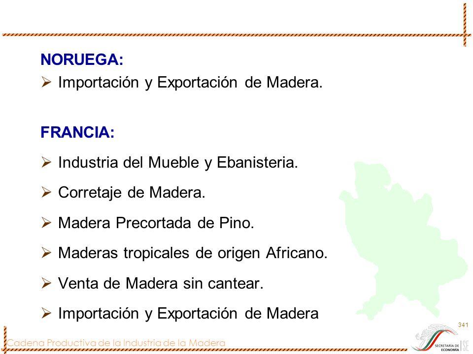 NORUEGA: Importación y Exportación de Madera. FRANCIA: Industria del Mueble y Ebanisteria. Corretaje de Madera.