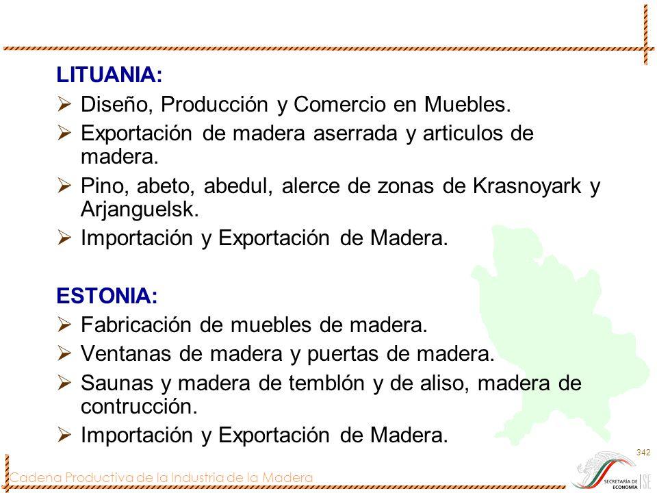 LITUANIA: Diseño, Producción y Comercio en Muebles. Exportación de madera aserrada y articulos de madera.
