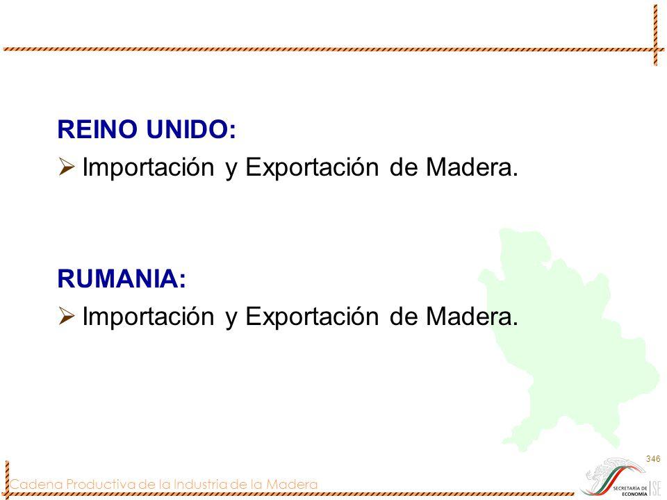 REINO UNIDO: Importación y Exportación de Madera. RUMANIA: