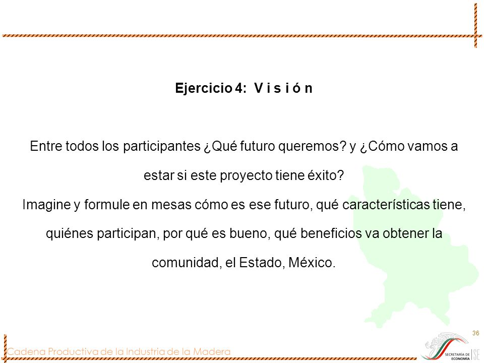 Ejercicio 4: V i s i ó n Entre todos los participantes ¿Qué futuro queremos.