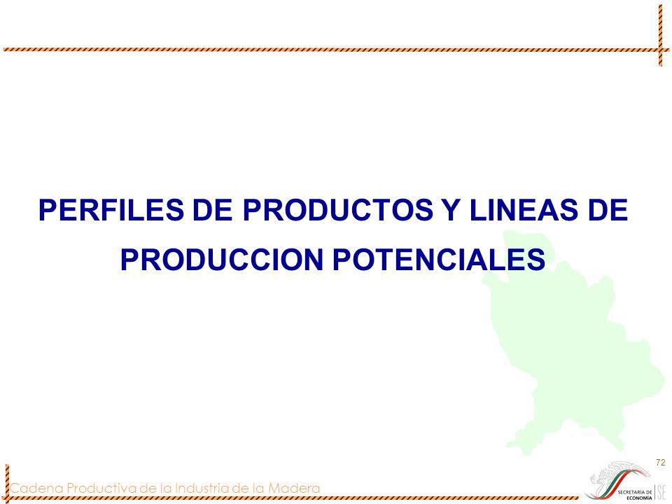 PERFILES DE PRODUCTOS Y LINEAS DE PRODUCCION POTENCIALES