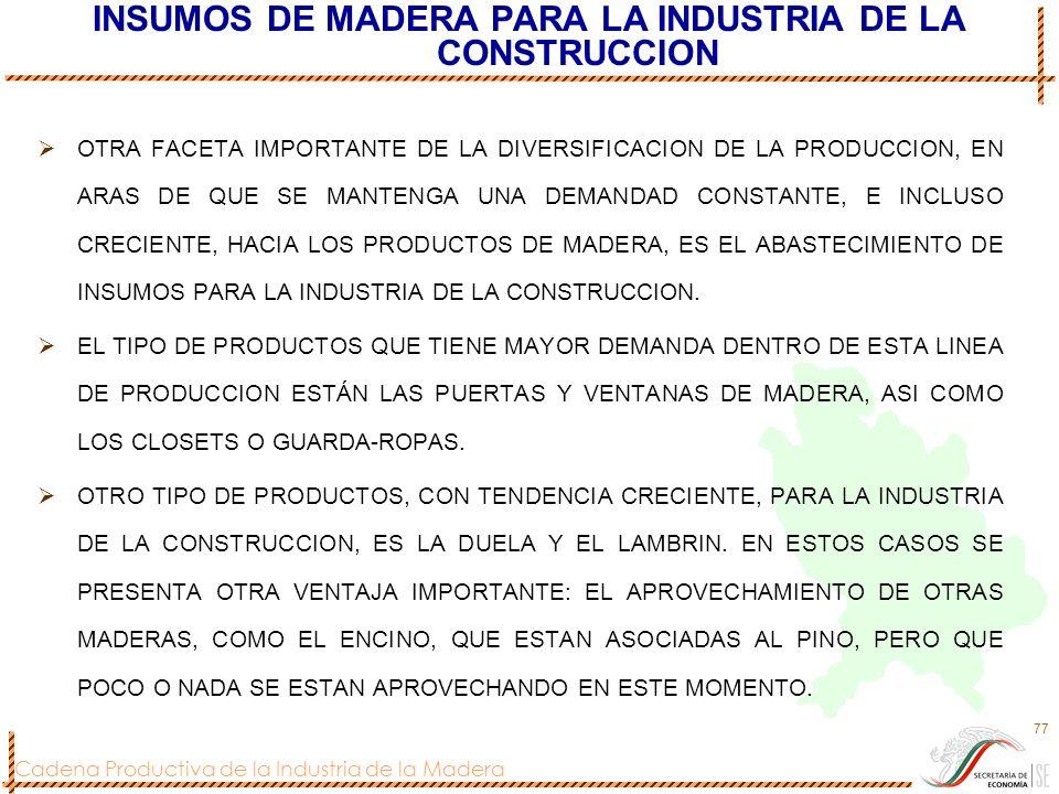 INSUMOS DE MADERA PARA LA INDUSTRIA DE LA CONSTRUCCION