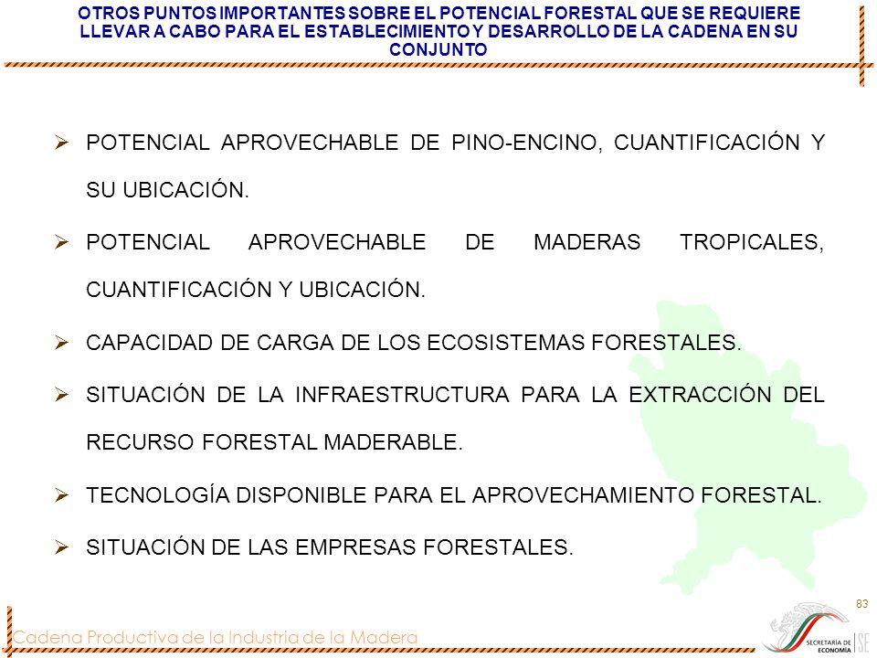 POTENCIAL APROVECHABLE DE PINO-ENCINO, CUANTIFICACIÓN Y SU UBICACIÓN.