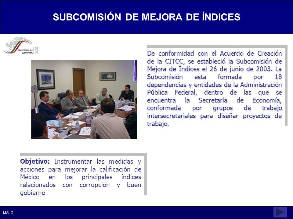 SUBCOMISIÓN DE MEJORA DE ÍNDICES SUBCOMISIÓN DE MEJORA DE ÍNDICES