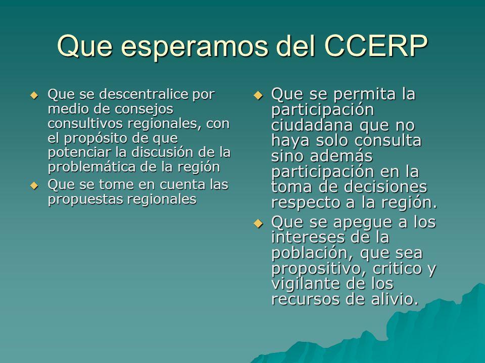 Que esperamos del CCERP