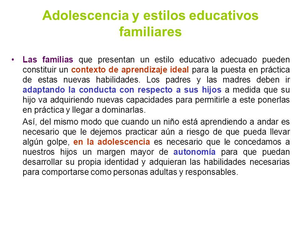 Adolescencia y estilos educativos familiares
