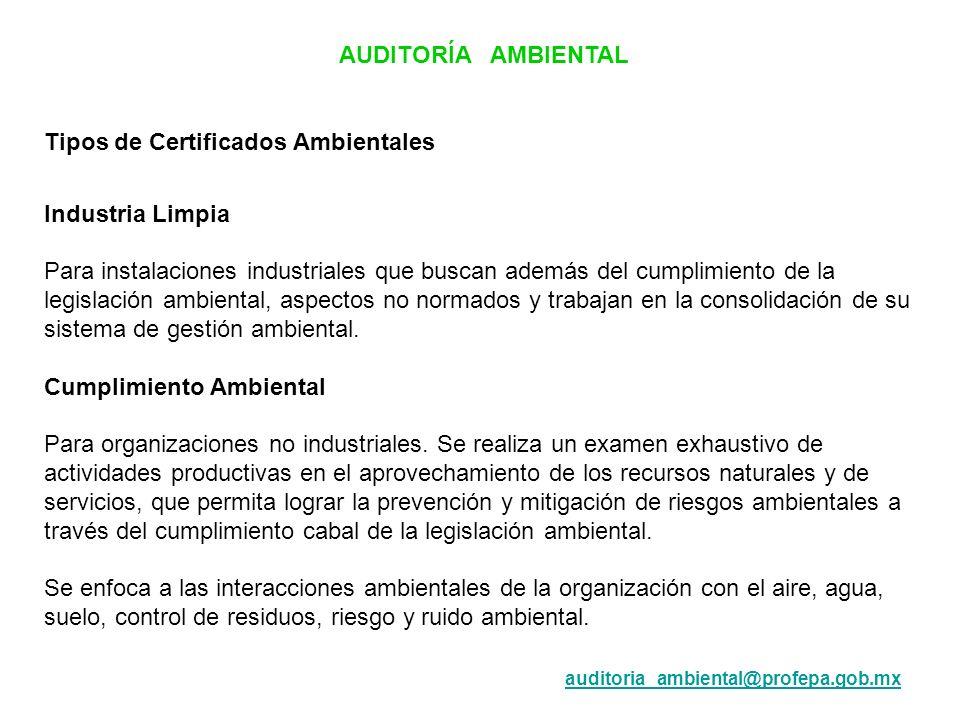 Tipos de Certificados Ambientales