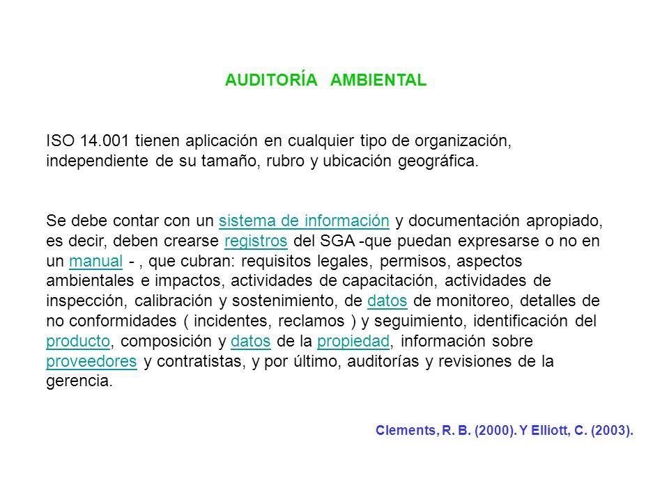 AUDITORÍA AMBIENTAL ISO 14.001 tienen aplicación en cualquier tipo de organización, independiente de su tamaño, rubro y ubicación geográfica.
