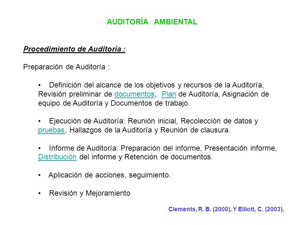 Procedimiento de Auditoría : Preparación de Auditoría :