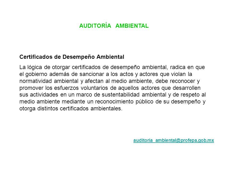 Certificados de Desempeño Ambiental