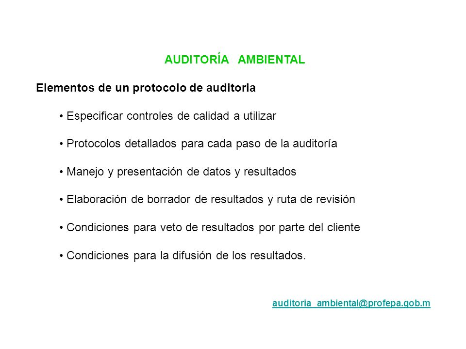 Elementos de un protocolo de auditoria