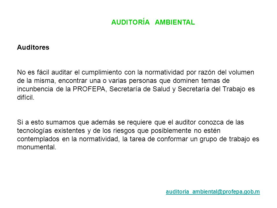 AUDITORÍA AMBIENTAL Auditores