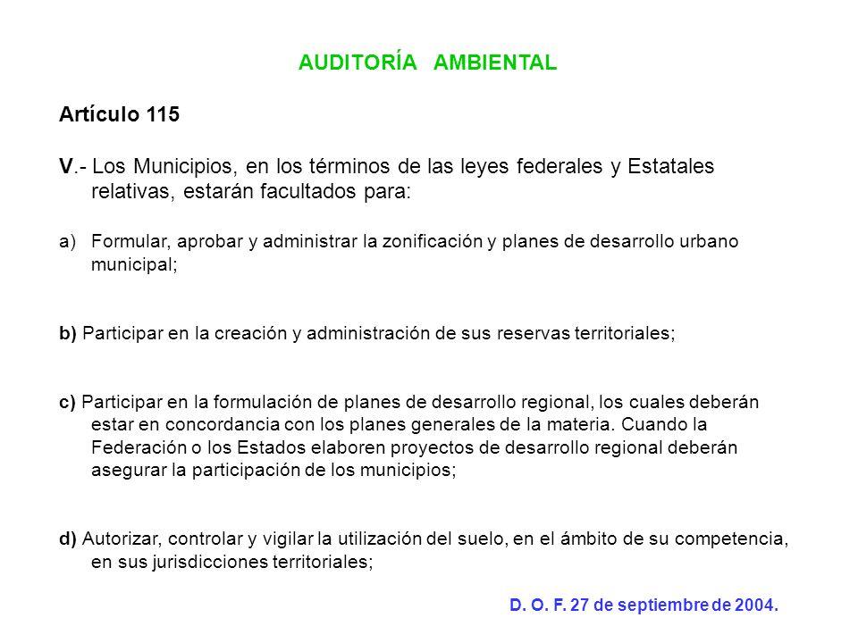 AUDITORÍA AMBIENTAL Artículo 115