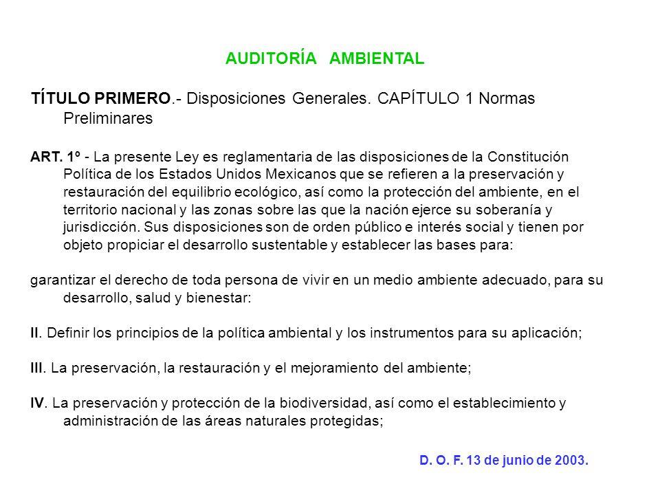 AUDITORÍA AMBIENTAL TÍTULO PRIMERO.- Disposiciones Generales. CAPÍTULO 1 Normas Preliminares.