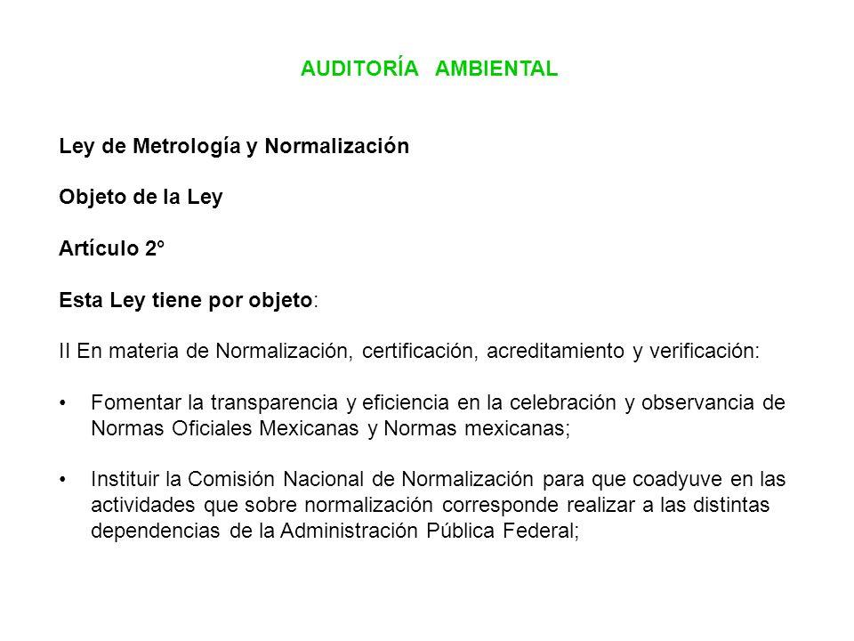 AUDITORÍA AMBIENTAL Ley de Metrología y Normalización. Objeto de la Ley. Artículo 2° Esta Ley tiene por objeto:
