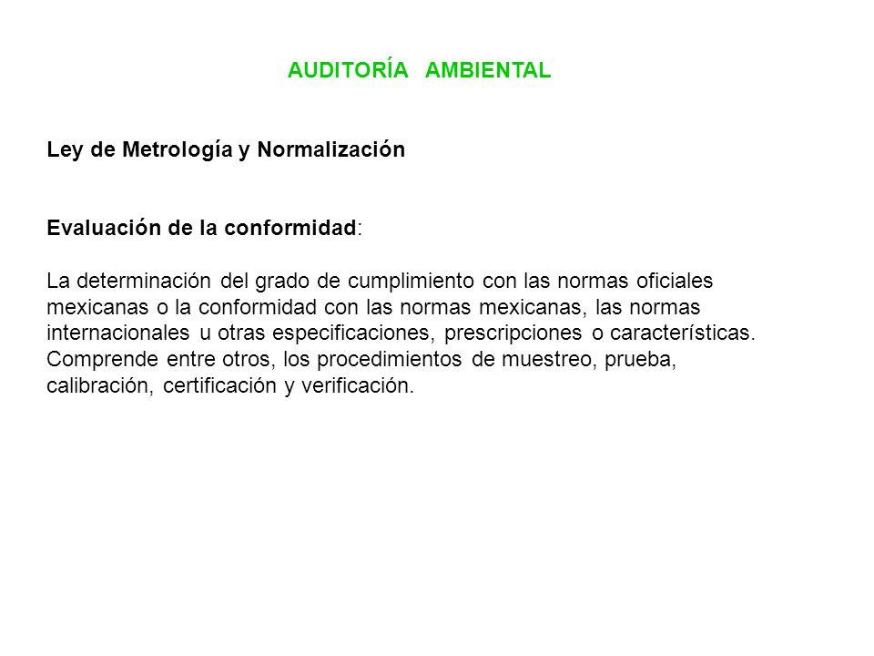 AUDITORÍA AMBIENTAL Ley de Metrología y Normalización. Evaluación de la conformidad: