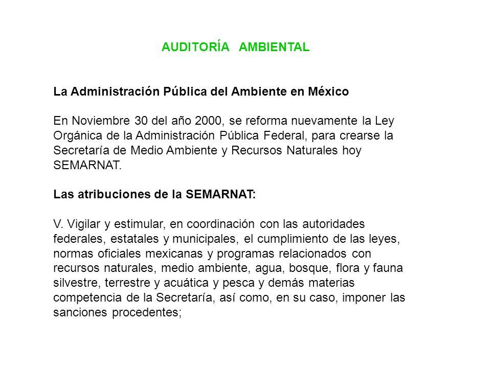 AUDITORÍA AMBIENTAL La Administración Pública del Ambiente en México.