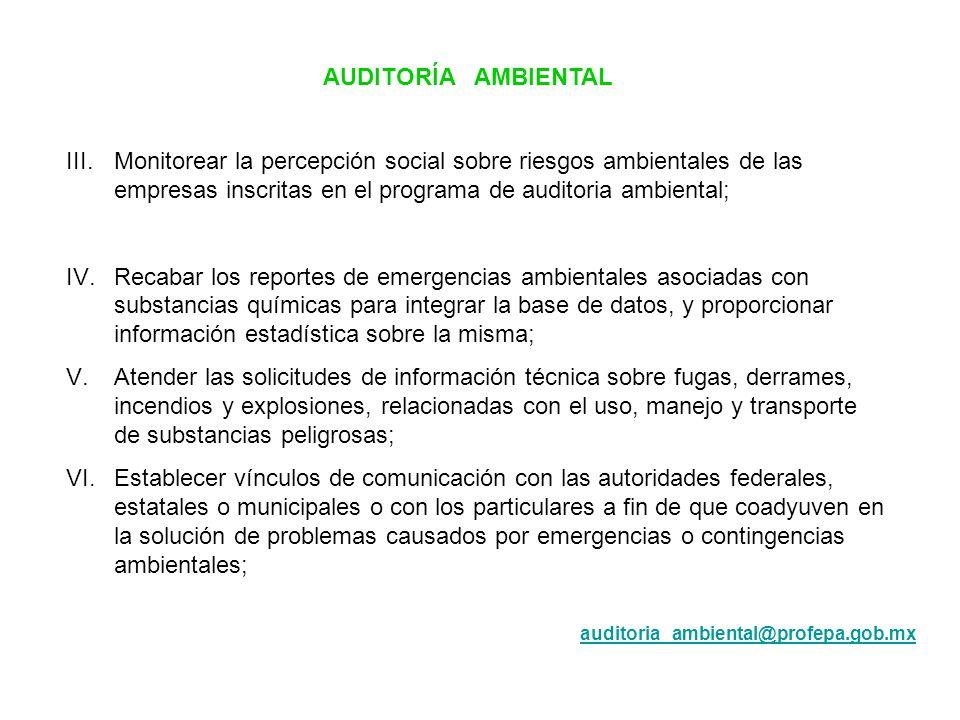 AUDITORÍA AMBIENTAL III. Monitorear la percepción social sobre riesgos ambientales de las empresas inscritas en el programa de auditoria ambiental;