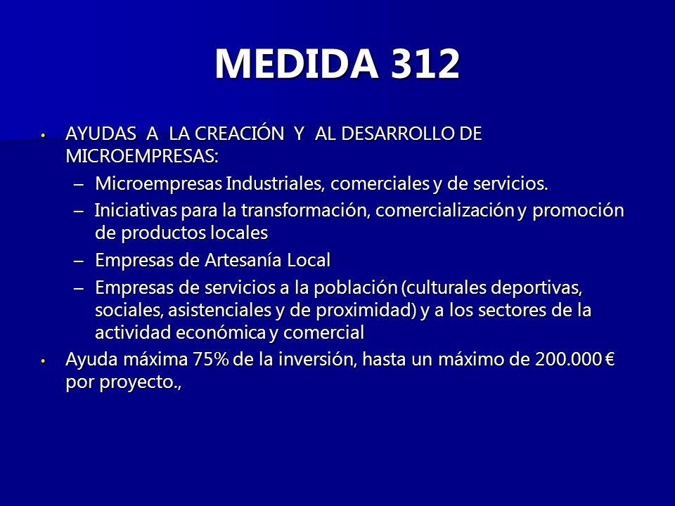 MEDIDA 312 AYUDAS A LA CREACIÓN Y AL DESARROLLO DE MICROEMPRESAS: