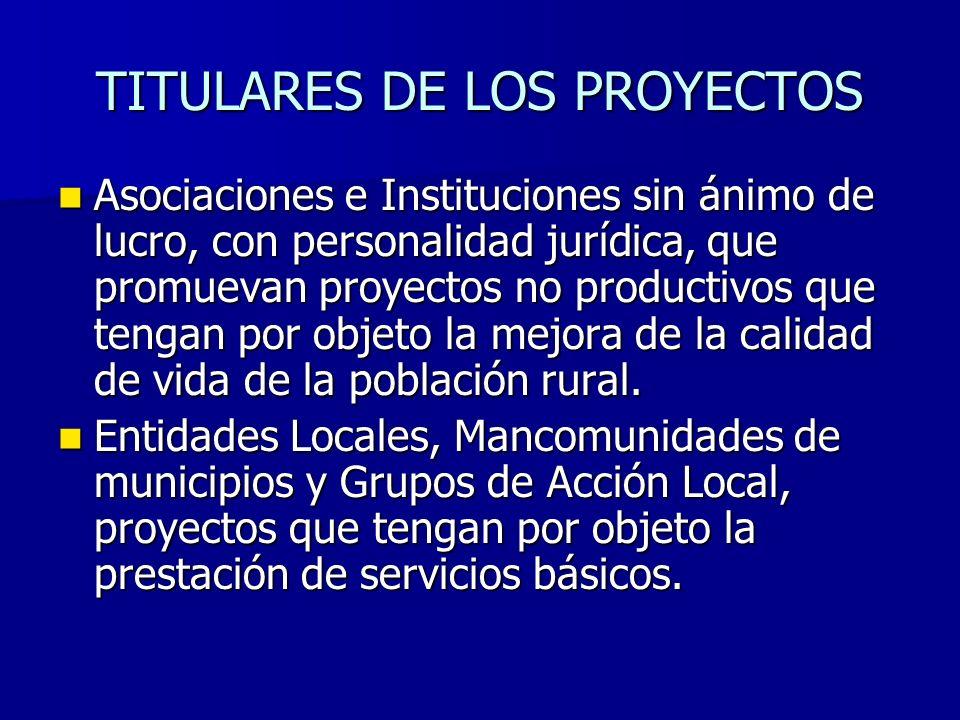 TITULARES DE LOS PROYECTOS