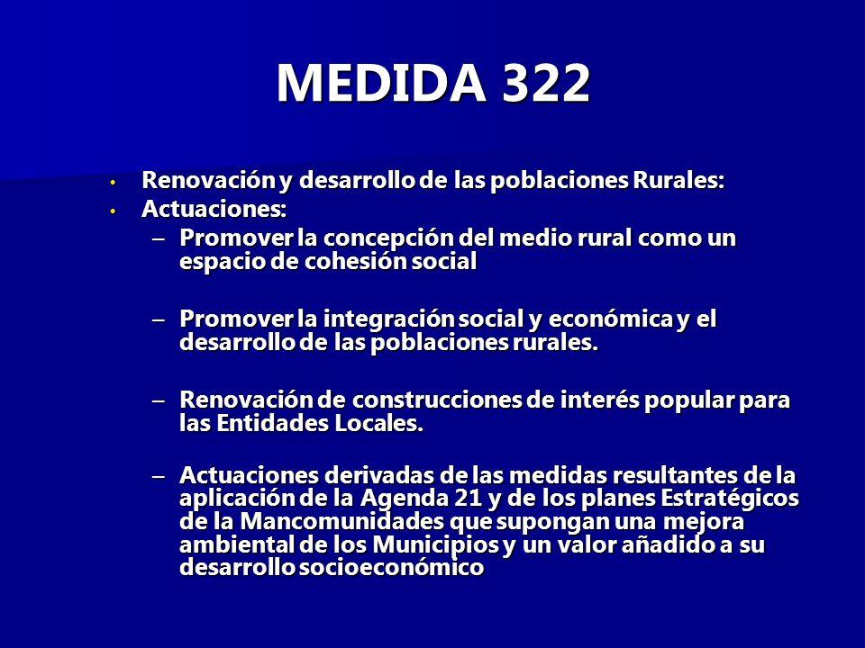 MEDIDA 322 Renovación y desarrollo de las poblaciones Rurales: