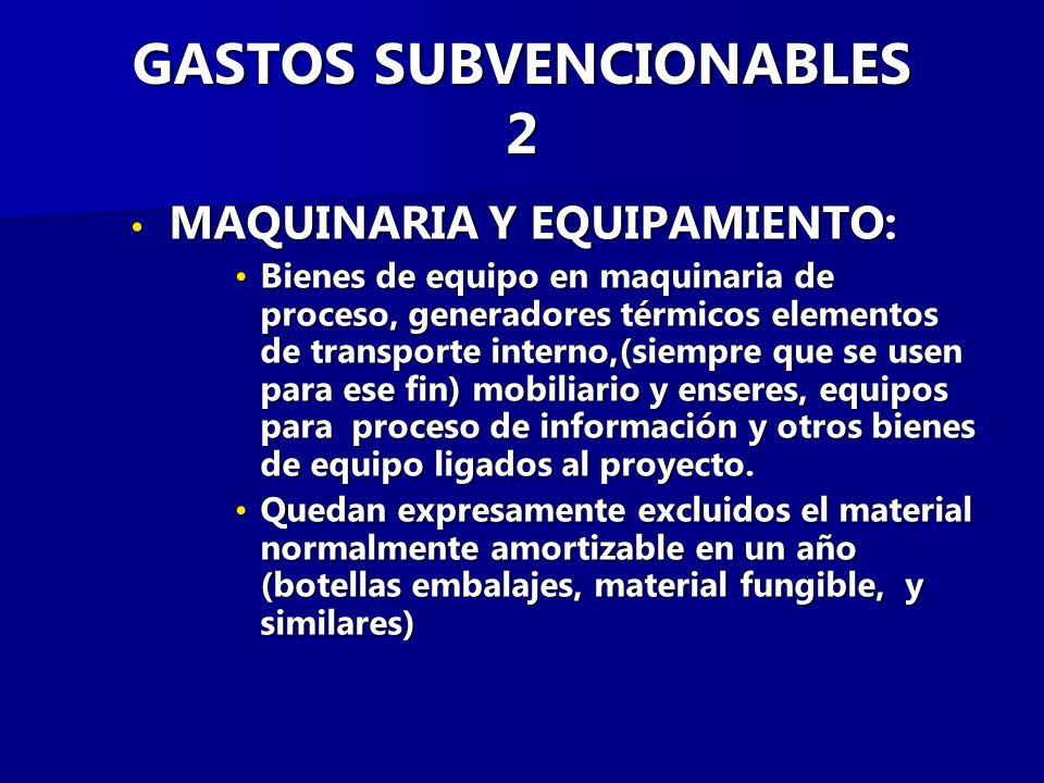GASTOS SUBVENCIONABLES 2