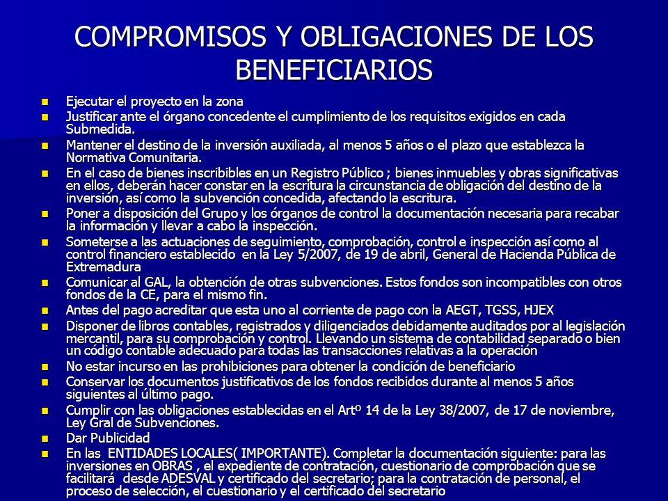 COMPROMISOS Y OBLIGACIONES DE LOS BENEFICIARIOS