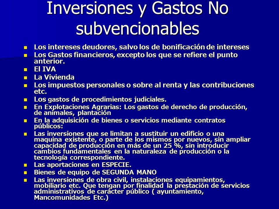 Inversiones y Gastos No subvencionables