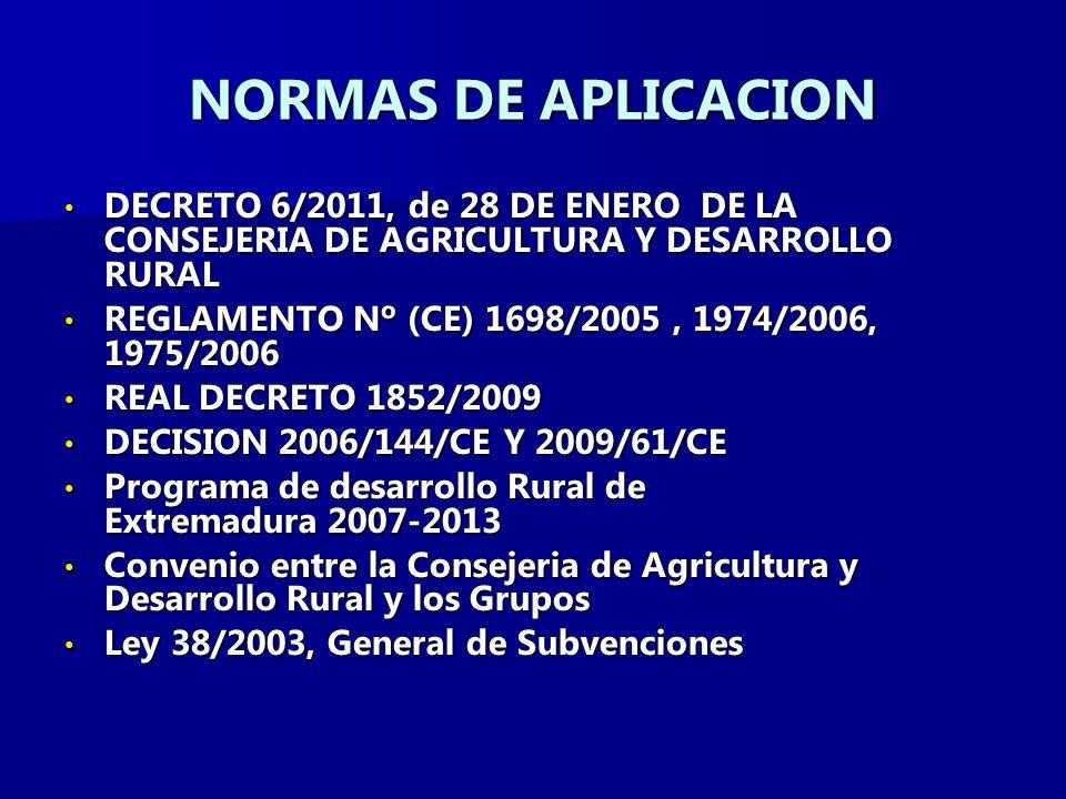 NORMAS DE APLICACION DECRETO 6/2011, de 28 DE ENERO DE LA CONSEJERIA DE AGRICULTURA Y DESARROLLO RURAL.