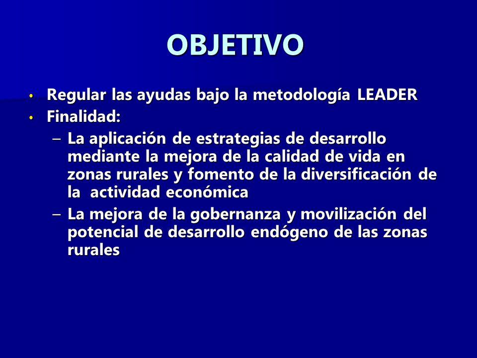 OBJETIVO Regular las ayudas bajo la metodología LEADER Finalidad:
