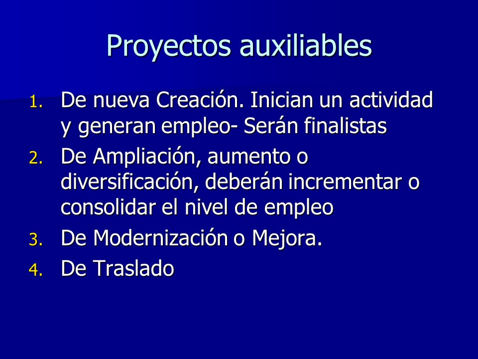 Proyectos auxiliables