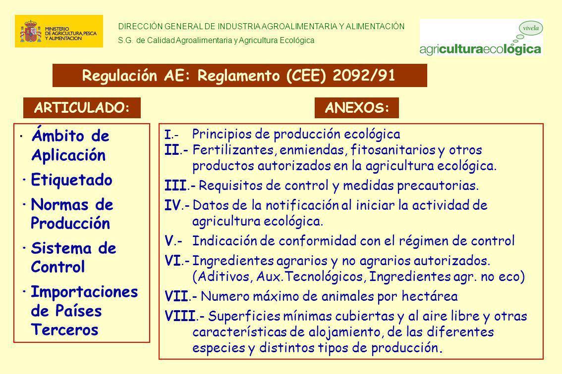 Regulación AE: Reglamento (CEE) 2092/91