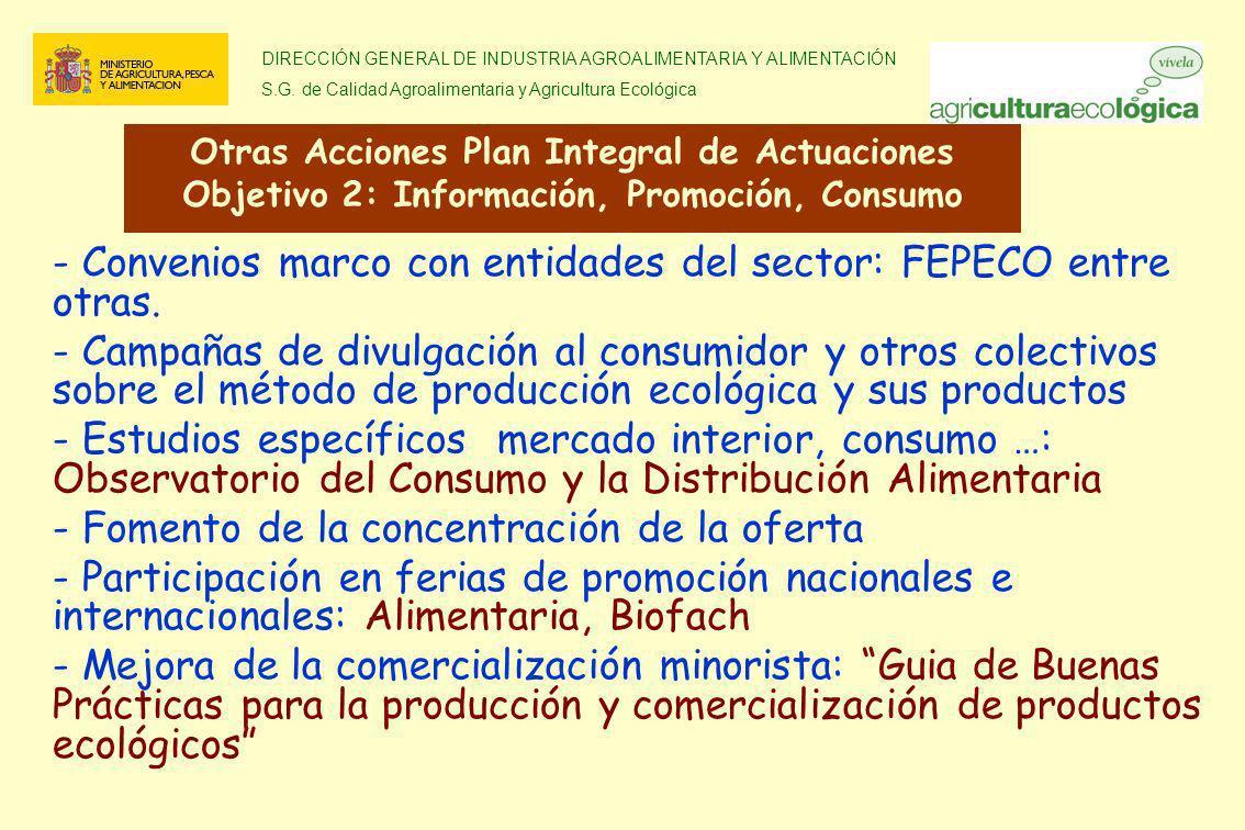 Convenios marco con entidades del sector: FEPECO entre otras.