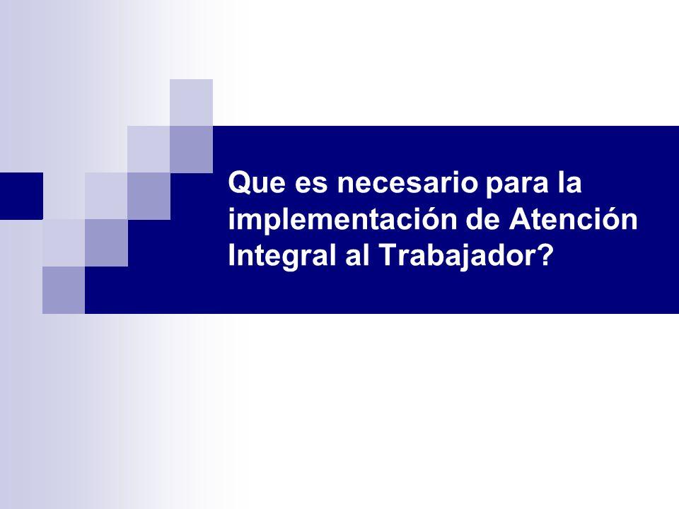 Que es necesario para la implementación de Atención Integral al Trabajador