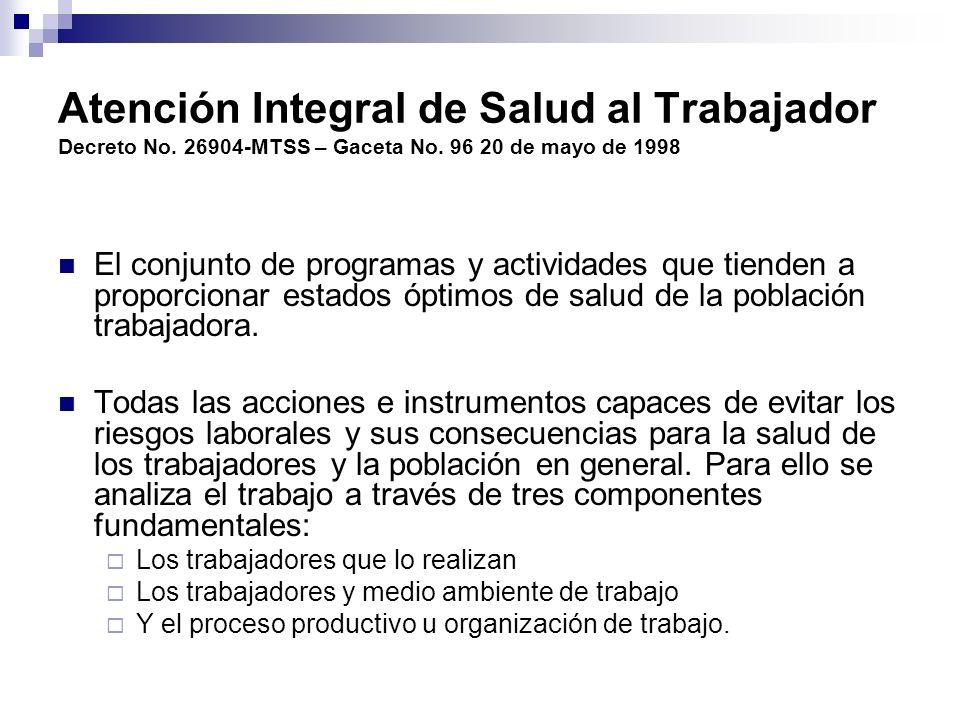 Atención Integral de Salud al Trabajador Decreto No
