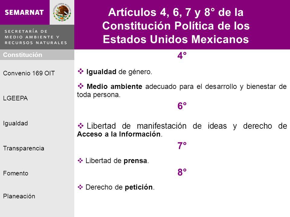 Artículos 4, 6, 7 y 8° de la Constitución Política de los Estados Unidos Mexicanos