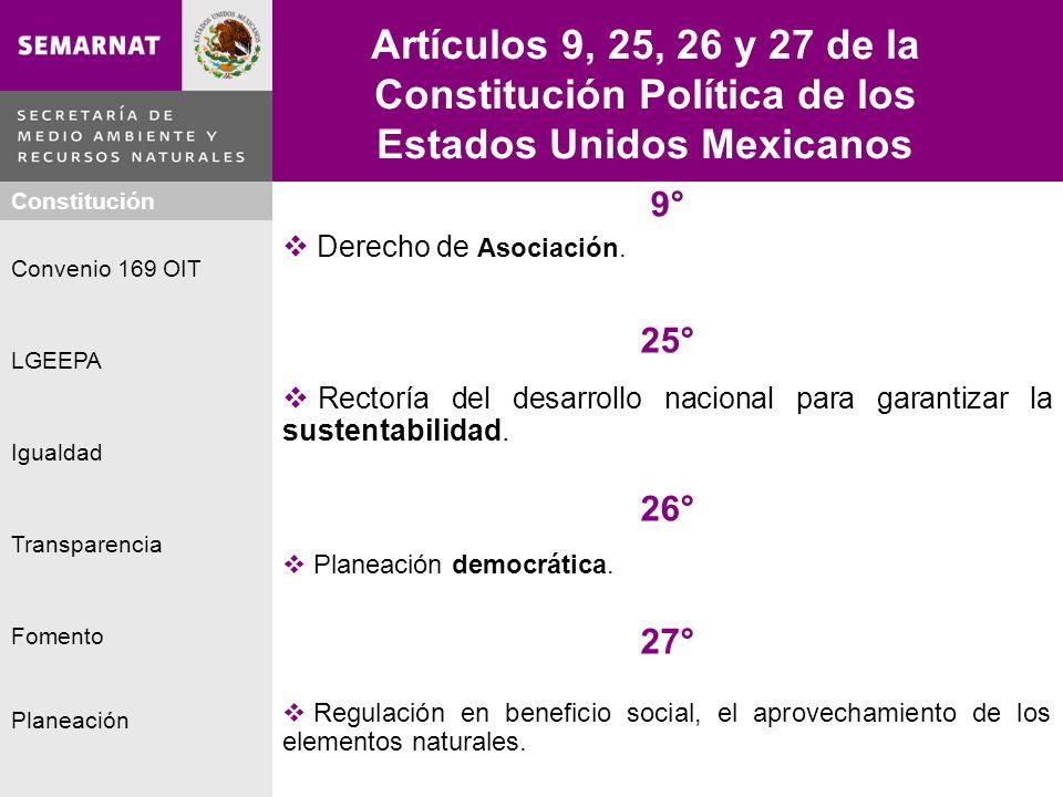 Artículos 9, 25, 26 y 27 de la Constitución Política de los Estados Unidos Mexicanos