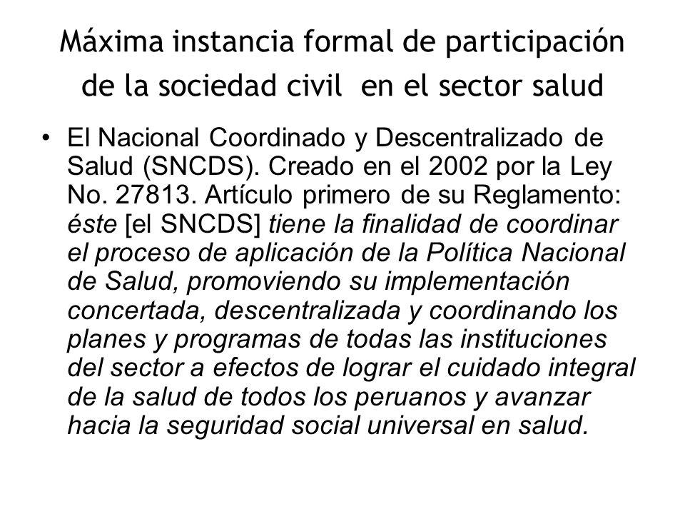 Máxima instancia formal de participación de la sociedad civil en el sector salud