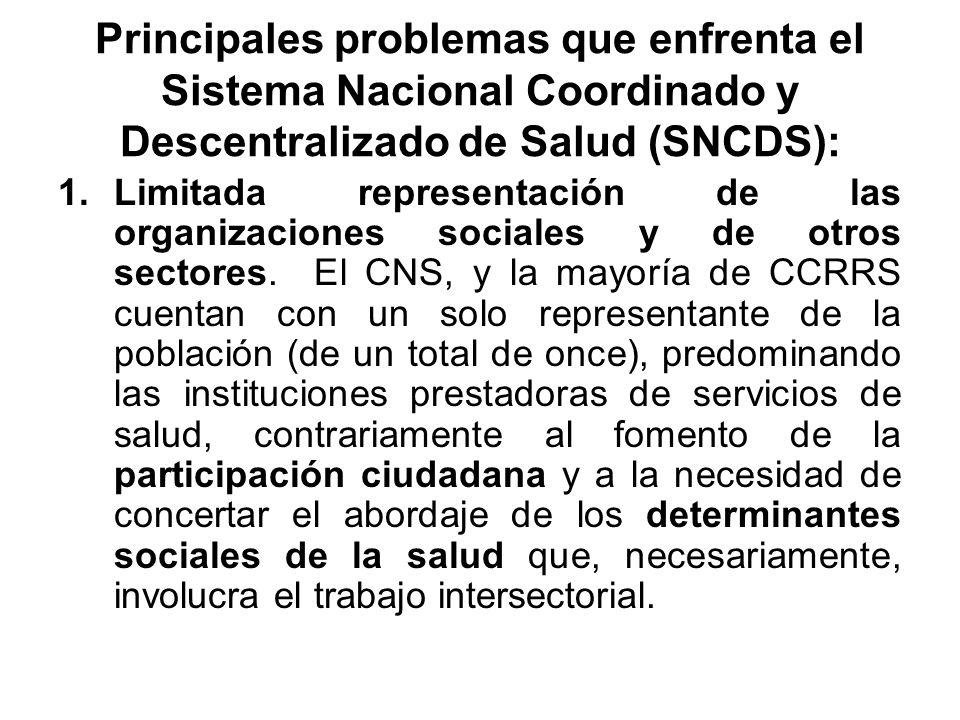 Principales problemas que enfrenta el Sistema Nacional Coordinado y Descentralizado de Salud (SNCDS):