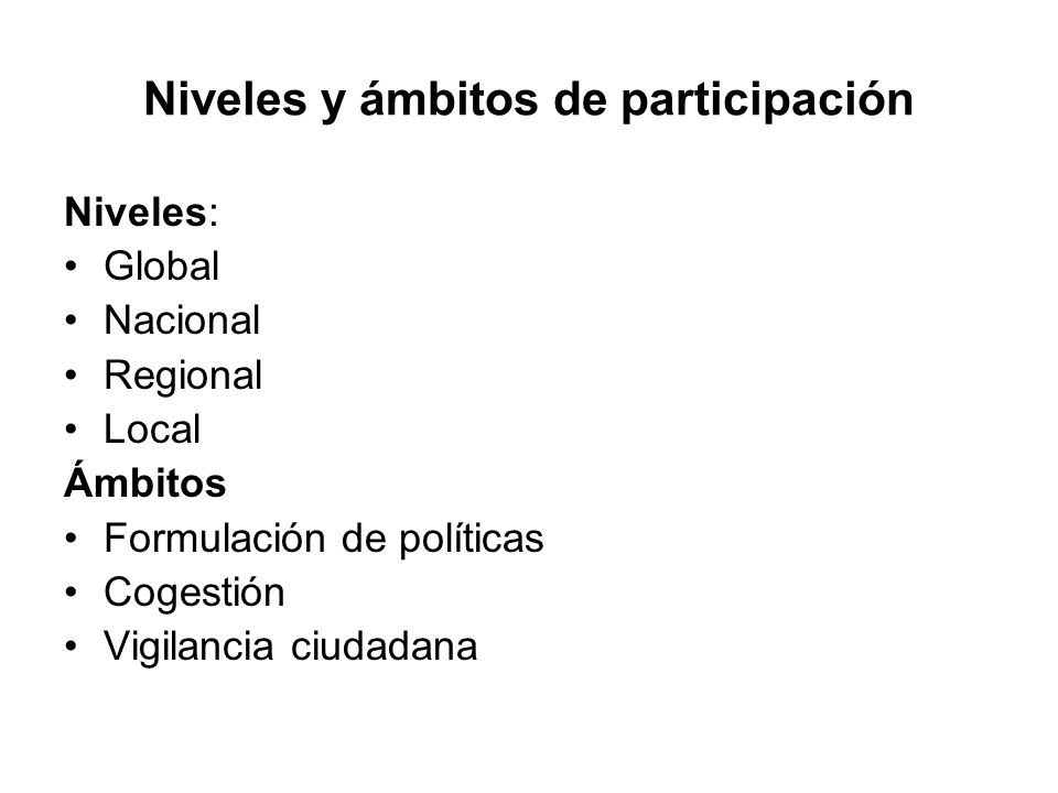 Niveles y ámbitos de participación
