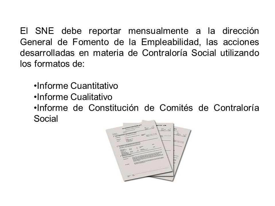 El SNE debe reportar mensualmente a la dirección General de Fomento de la Empleabilidad, las acciones desarrolladas en materia de Contraloría Social utilizando los formatos de: