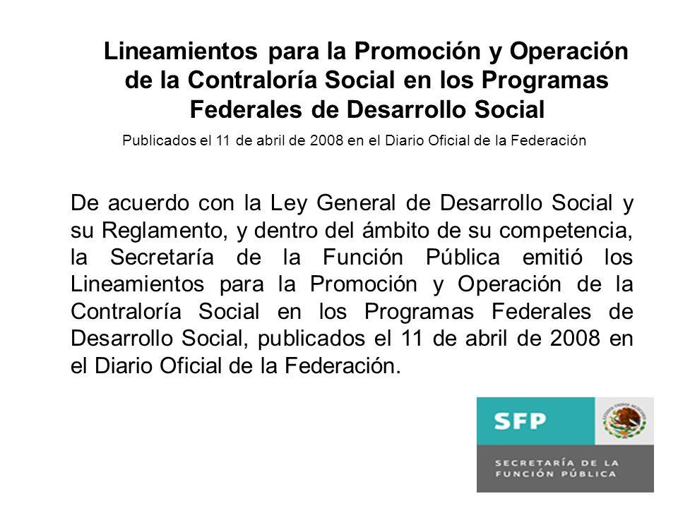 Lineamientos para la Promoción y Operación de la Contraloría Social en los Programas Federales de Desarrollo Social