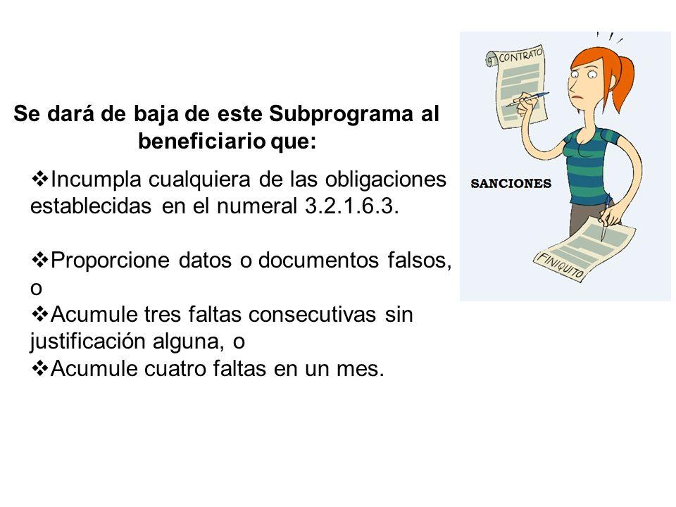 Se dará de baja de este Subprograma al beneficiario que: