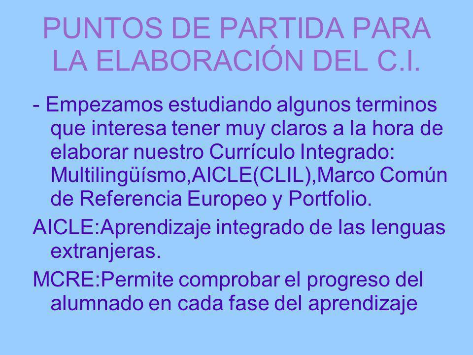PUNTOS DE PARTIDA PARA LA ELABORACIÓN DEL C.I.
