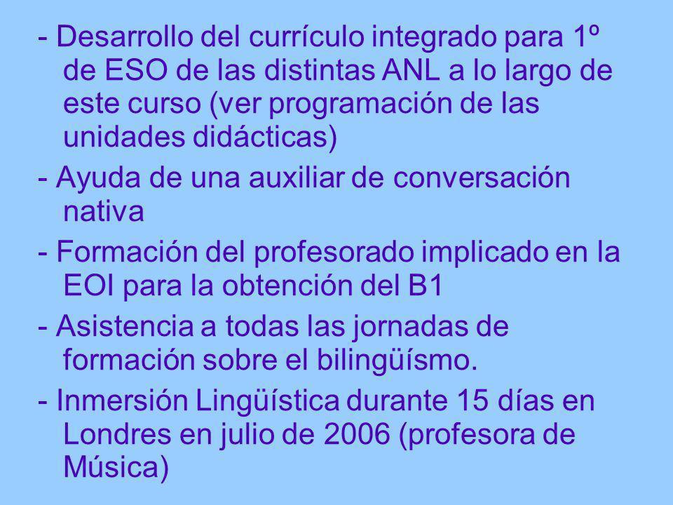 - Desarrollo del currículo integrado para 1º de ESO de las distintas ANL a lo largo de este curso (ver programación de las unidades didácticas)