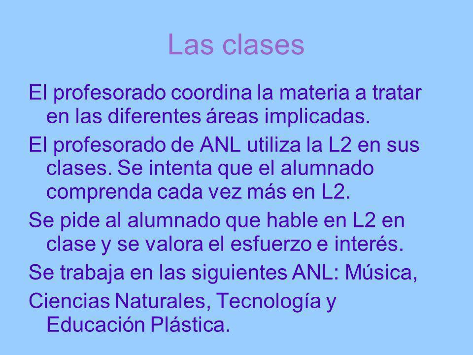 Las clases El profesorado coordina la materia a tratar en las diferentes áreas implicadas.