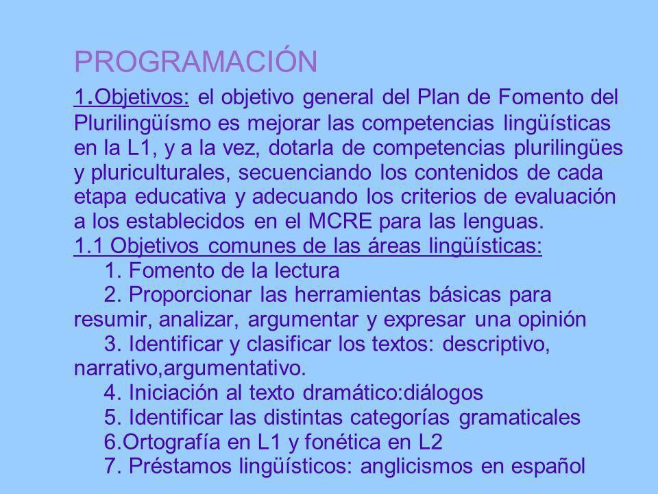 PROGRAMACIÓN 1.Objetivos: el objetivo general del Plan de Fomento del Plurilingüísmo es mejorar las competencias lingüísticas en la L1, y a la vez, dotarla de competencias plurilingües y pluriculturales, secuenciando los contenidos de cada etapa educativa y adecuando los criterios de evaluación a los establecidos en el MCRE para las lenguas.