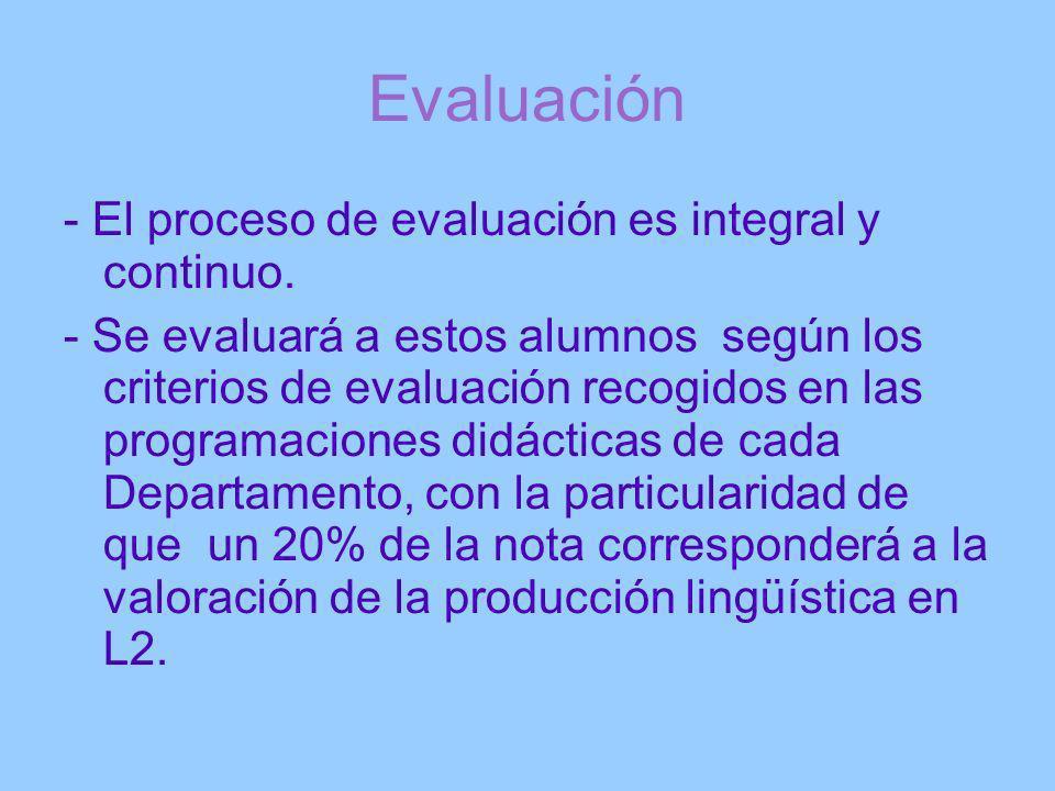 Evaluación - El proceso de evaluación es integral y continuo.